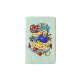 Anchor, Swallow and Roses Pocket Moleskine Notebook Cover With Notebook