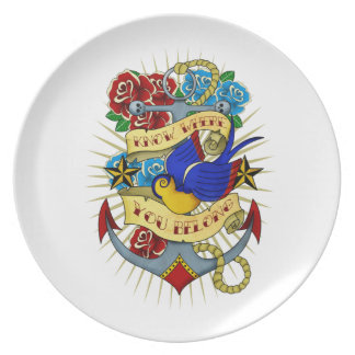 Anchor, Swallow and Roses Dinner Plate