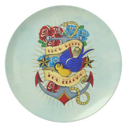 Anchor, Swallow and Roses Plate