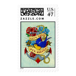 Anchor, Swallow and Roses Postage Stamp