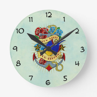 Anchor, Swallow and Roses Round Clocks