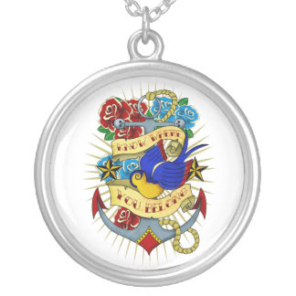 Anchor, Swallow and Roses Round Pendant Necklace