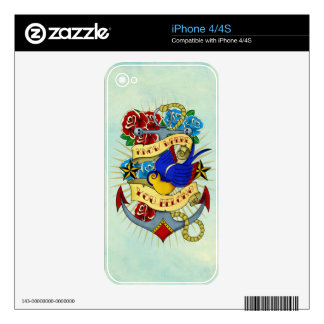 Anchor, Swallow and Roses Skins For The iPhone 4S