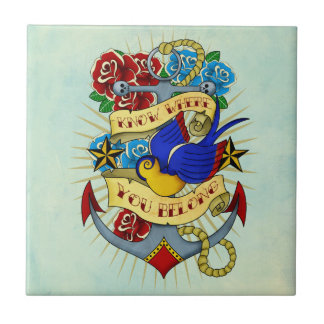 Anchor, Swallow and Roses Tile