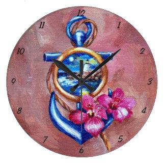 Anchor Tatoo Large Clock