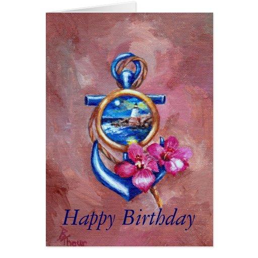 Anchor Tattoo Birthday Card Greeting Card