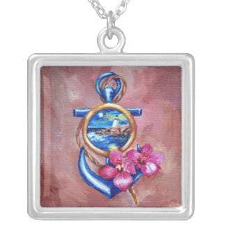 Anchor Tattoo Silver Plated Necklace