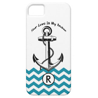 Anchor Teal Blue Chevron Monogramm Personalized iPhone SE/5/5s Case
