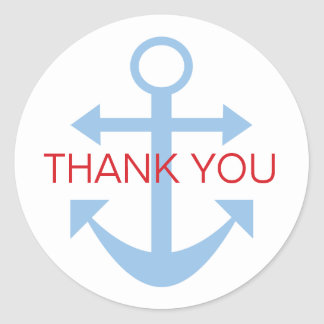 Anchor Thank You Classic Round Sticker