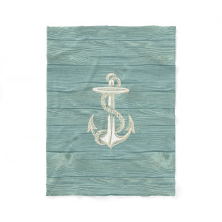 Anchor Vintage Aqua Wood Beach Fleece Blanket