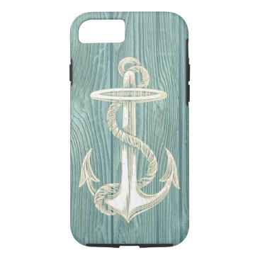 Beach Themed Anchor Vintage Aqua Wood Beach iPhone 7 Case