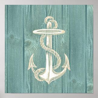 Anchor Vintage Aqua Wood Beach Poster