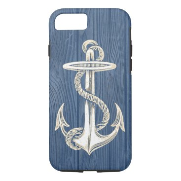 Beach Themed Anchor Vintage Blue Wood Beach iPhone 7 Case