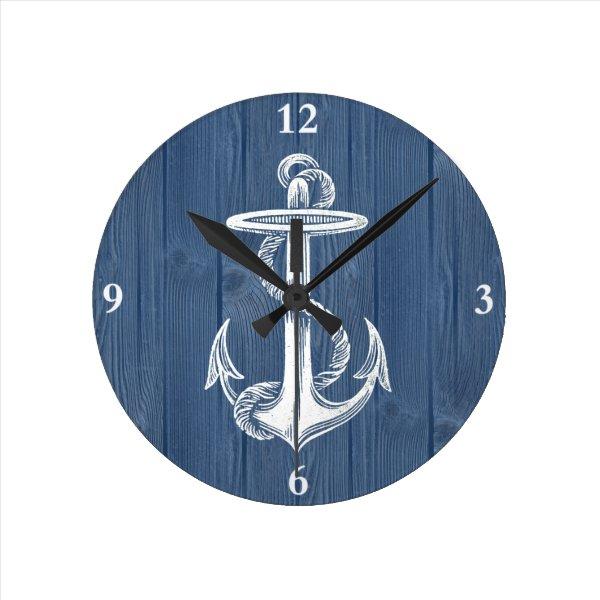 Anchor Vintage Blue Wood Clock