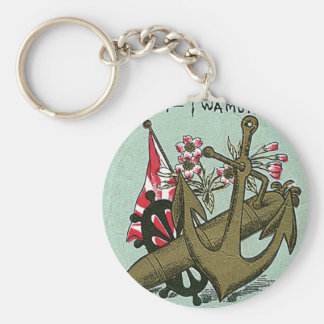 Anchor Vintage Japanese Silk Label Keychain