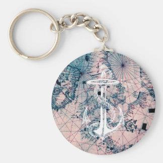 Anchor Vintage Nautical Map Sea Chart Keychain