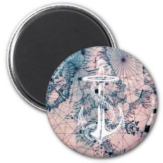 Anchor Vintage Nautical Map Sea Chart Magnet