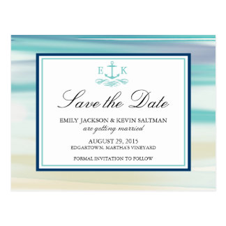 Anchor Watercolor Ocean Save the Date Postcard