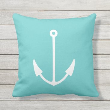 Beach Themed Anchor WHITE on teal blue pillow outdoor / indoor