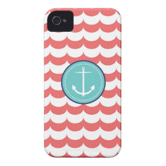 Anchor with Coral Waves Pattern iPhone 4 Case-Mate Case