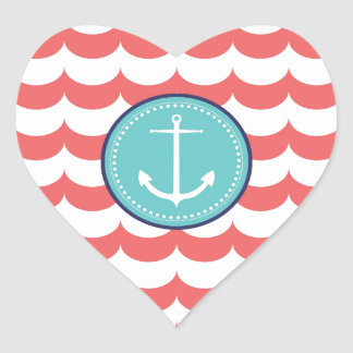 Anchor with Coral Waves Pattern Heart Sticker