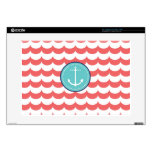 "Anchor with Coral Waves Pattern Decals For 15"" Laptops"