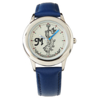 ANCHOR WITH FISH NAUTICAL MONOGRAM WRIST WATCH