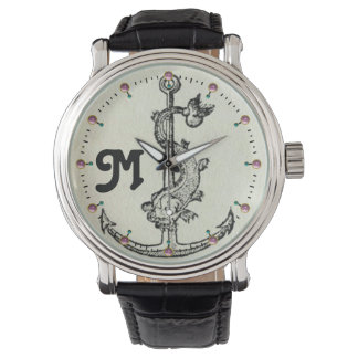 ANCHOR WITH FISH NAUTICAL MONOGRAM WRISTWATCH