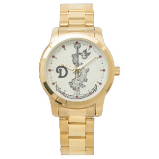 ANCHOR WITH FISH NAUTICAL MONOGRAM WRISTWATCHES