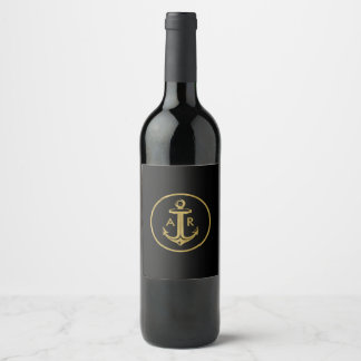 Anchor with initials | Nautical Gifts Wine Label