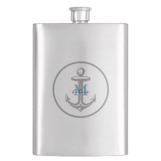 Anchor with Monogram Hip Flasks