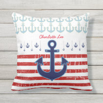 anchor with red stripes, nautical personalized outdoor pillow