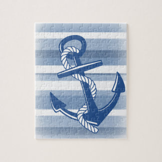 Anchor with rope in blue hues jigsaw puzzle