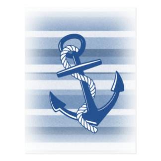 Anchor with rope in blue hues postcard