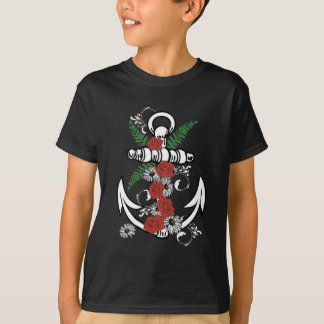 Anchor with Roses and Daisies T-Shirt