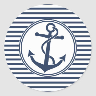 Anchor with Stripes Classic Round Sticker