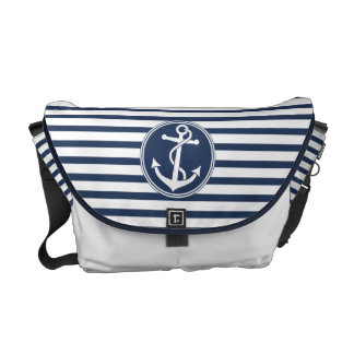 Anchor with Stripes Courier Bag
