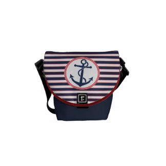 Anchor with Stripes Messenger Bag