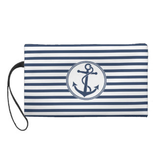 Anchor with Stripes Wristlet Purses