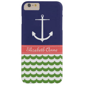 Anchor with Waves and Custom Name in Navy & Green Barely There iPhone 6 Plus Case