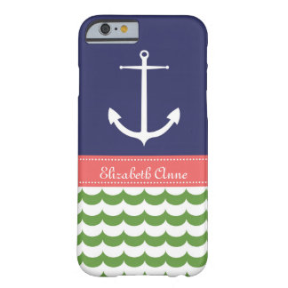 Anchor with Waves and Custom Name in Navy & Green Barely There iPhone 6 Case