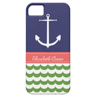 Anchor with Waves and Custom Name in Navy & Green iPhone SE/5/5s Case