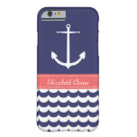 Anchor with Waves and Custom Name in Navy & Pink Barely There iPhone 6 Case