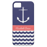 Anchor with Waves and Custom Name in Navy & Pink iPhone 5 Cases