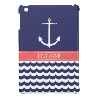 Anchor with Waves and Custom Name in Navy & Pink Cover For The iPad Mini
