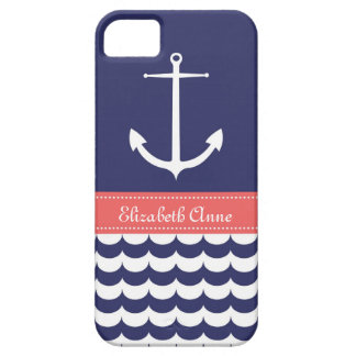 Anchor with Waves and Custom Name in Navy & Pink iPhone SE/5/5s Case