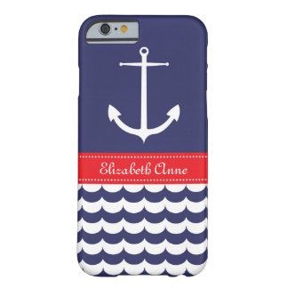 Anchor with Waves and Custom Name in Navy & Red Barely There iPhone 6 Case