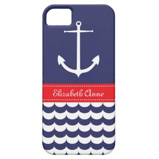Anchor with Waves and Custom Name in Navy & Red iPhone 5 Case
