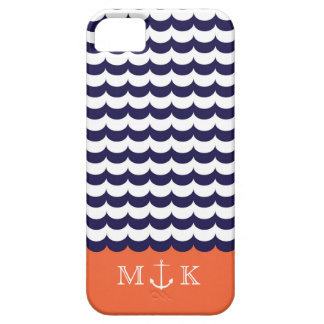 Anchor with Waves and Monogram Navy & Orange iPhone 5 Covers