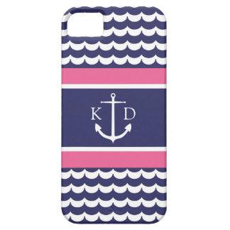 Anchor with Waves and Monogram Navy & Pink iPhone 5 Cases